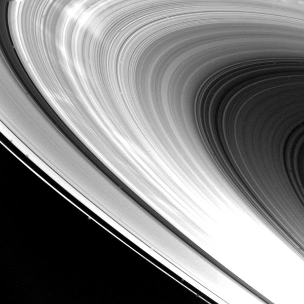Eight hours after its closest approach to Saturn on Nov. 12, 1980, NASA's Voyager 1 took this picture of the planet's ring system.