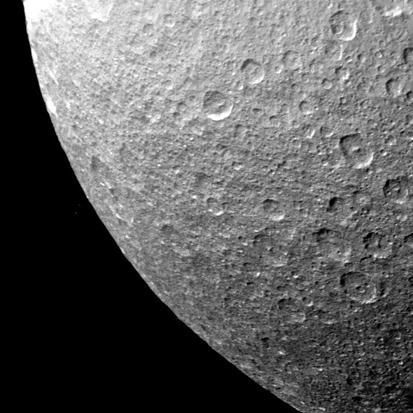 Multiple impact craters are seen on the ancient surface of Saturn's moon Rhea in this picture taken by NASA's Voyager 1 on Nov. 12, 1980 at a range of 73,000 kilometers (45,000 miles).