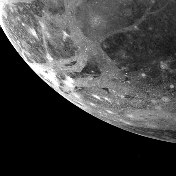 This picture of Ganymede, Jupiter's largest satellite, was taken by NASA's Voyager 1 on the afternoon of March 5, 1979 from a range of 253,000 kilometers (151,800 miles).