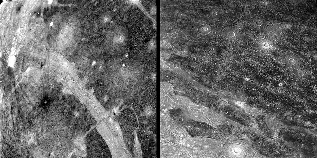 RIGHT: This picture shows part of the surface of Ganymede as viewed from a range-of 120,000 km by NASA's Voyager 2 on July 9th. In the foreground is typical grooved terrain as seen by Voyager 1.