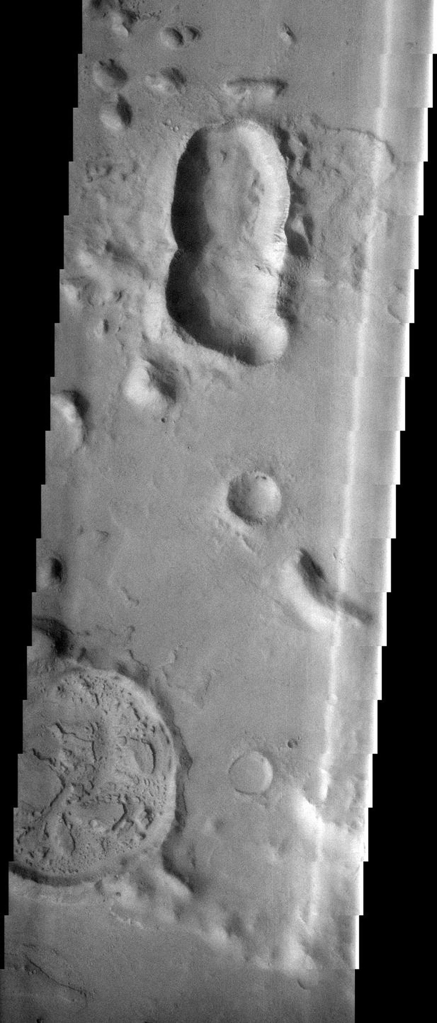 This image contains several different impact craters on Mars as seen by NASA's 2001 Mars Odyssey spacecraft.