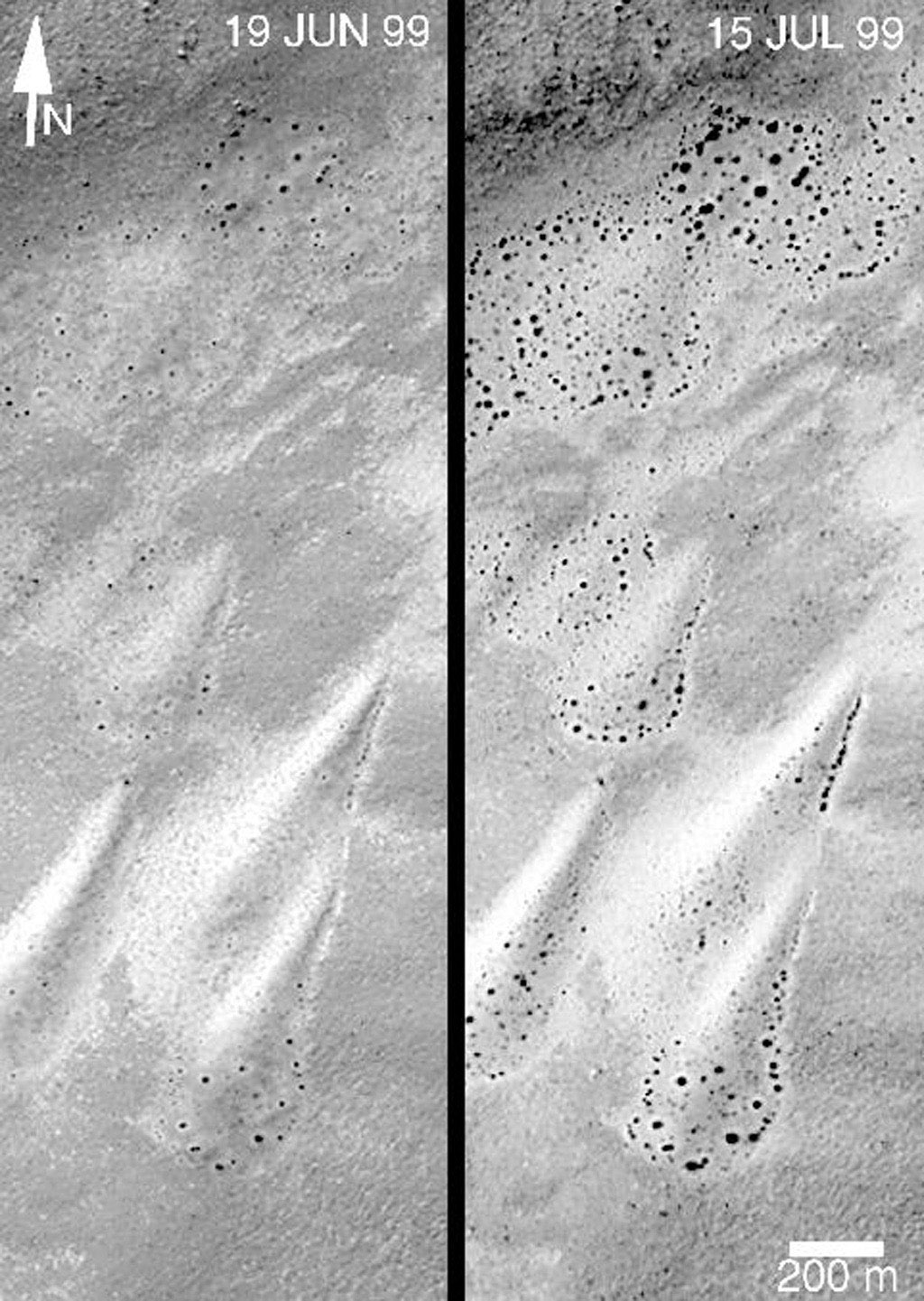 NASA's Mars Global Surveyor shows changes on a set of nearly pear-shaped sand dunes located on the floor of an unnamed crateon Mars featuring dunes as they appeared on June 19, 1999 and July 15, 1999.