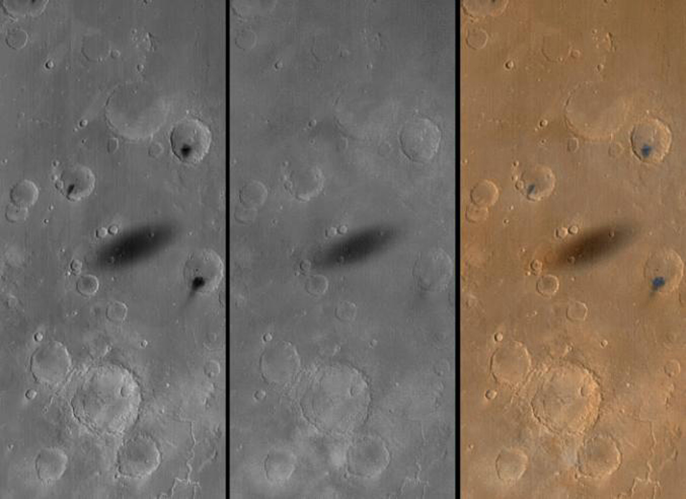NASA's Mars Global Surveyor shows the shadow of the martian moon, Phobos, as it was cast upon western Xanthe Terra on August 26, 1999.