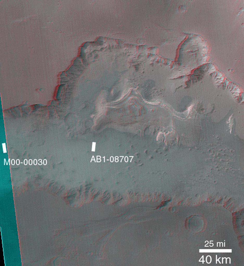 This anaglyph from NASA's Mars Global Surveyor shows dark, blanketed or mantled surfaces in the Sinus Sabaeus region of Mars. 3D glasses are necessary to view this image.