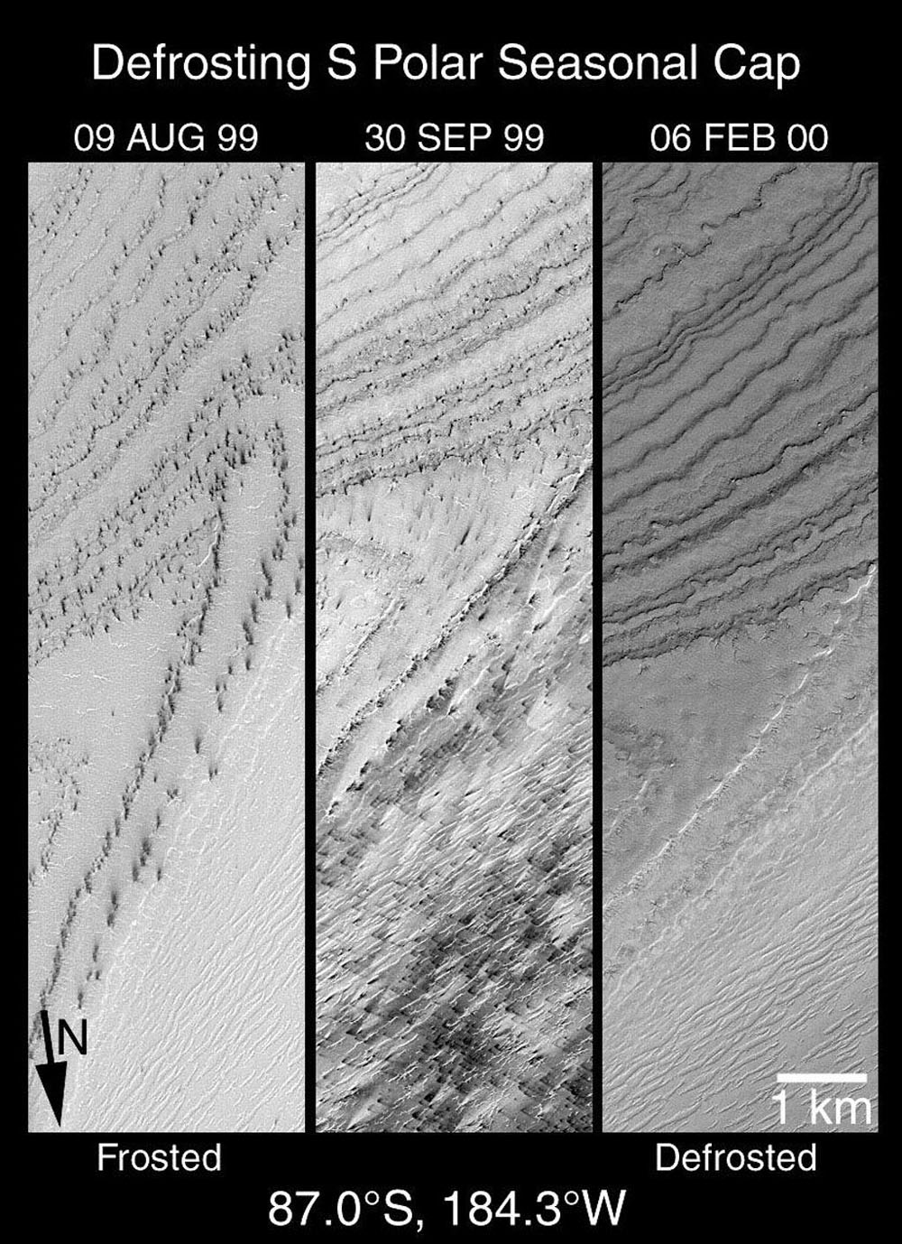 NASA's Mars Global Surveyor shows a layered terrain near the martian south pole. Together, these three views document changes that occurred between August 1999 and February 2000 for the same small region.