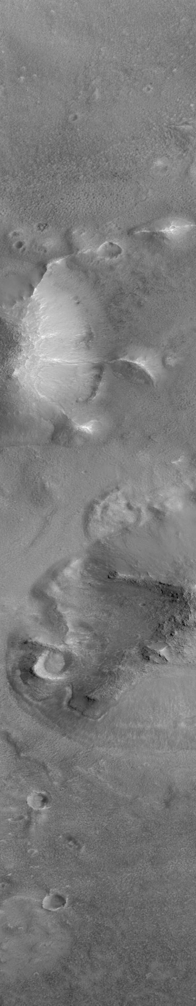 NASA's Mars Global Surveyor shows features in the Cydonia region of Mars.