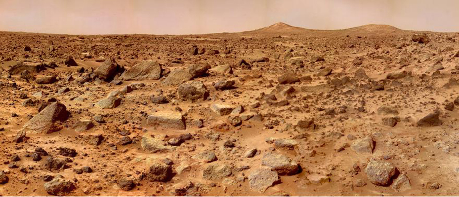 The Twin Peaks are modest-size hills to the southwest of the Mars Pathfinder landing site. They were discovered on the first panoramas taken by NASA's IMP camera on the 4th of July, 1997, and identified in Viking Orbiter images taken over 20 years ago.