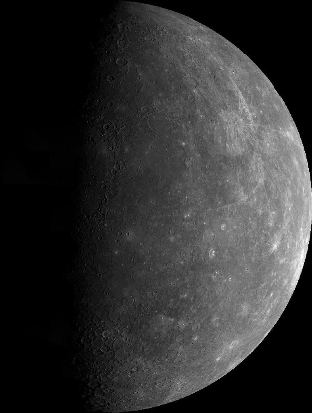 This mosaic, made from over 140 individual TV frames taken about two hours after encounter, shows the planet Mercury as seen by NASA's Mariner 10 as it sped away from the planet on March 29, 1974.