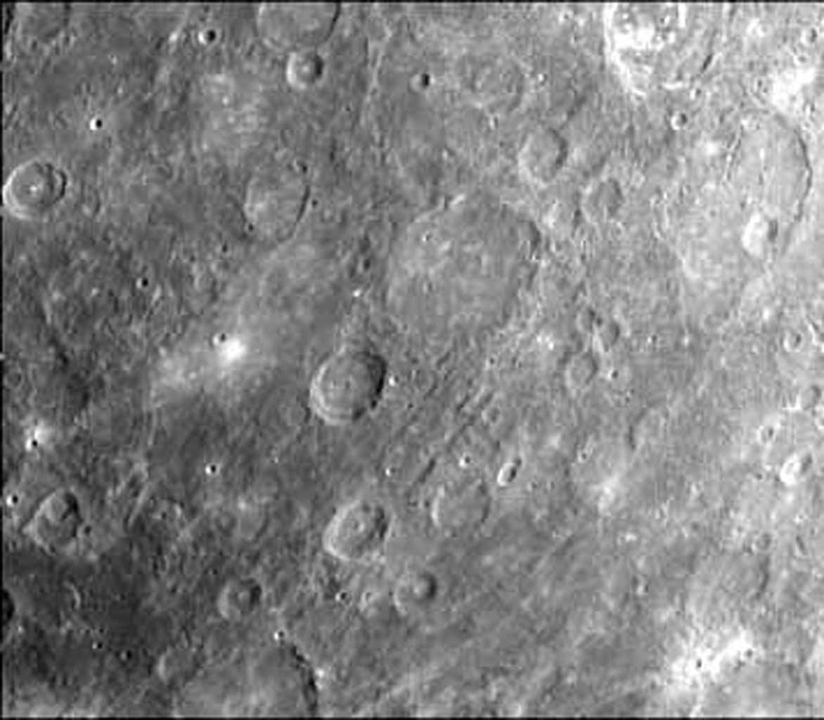 This image, from NASA's Mariner 10 spacecraft which launched in 1974, was taken during the spacecraft's first encounter with Mercury.