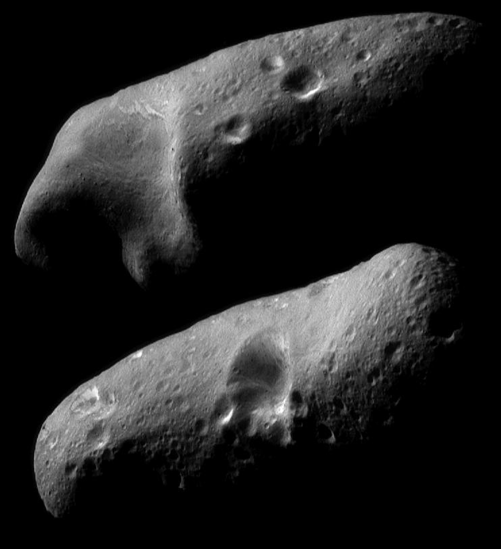 On February 23, 2000, NASA's NEAR Shoemaker spacecraft obtained a sequence of image mosaics showing Eros' surface as the asteroid rotated under the spacecraft; shown here is the stark beauty of the two opposite hemispheres.