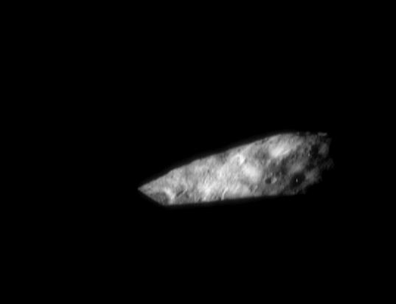 Asteroid Eros' irregular shape gives rise to some stunning vistas at the time of sunrise or sunset as seen in this image from NASA's NEAR Shoemaker.