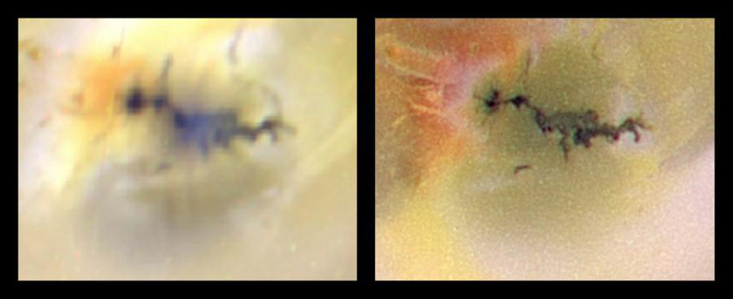 A volcano named Zamama on Jupiter's moon Io has recently changed in appearance as seen in this pair of images of Io acquired by NASA's Galileo spacecraft as it approached Io in preparation for a close flyby.