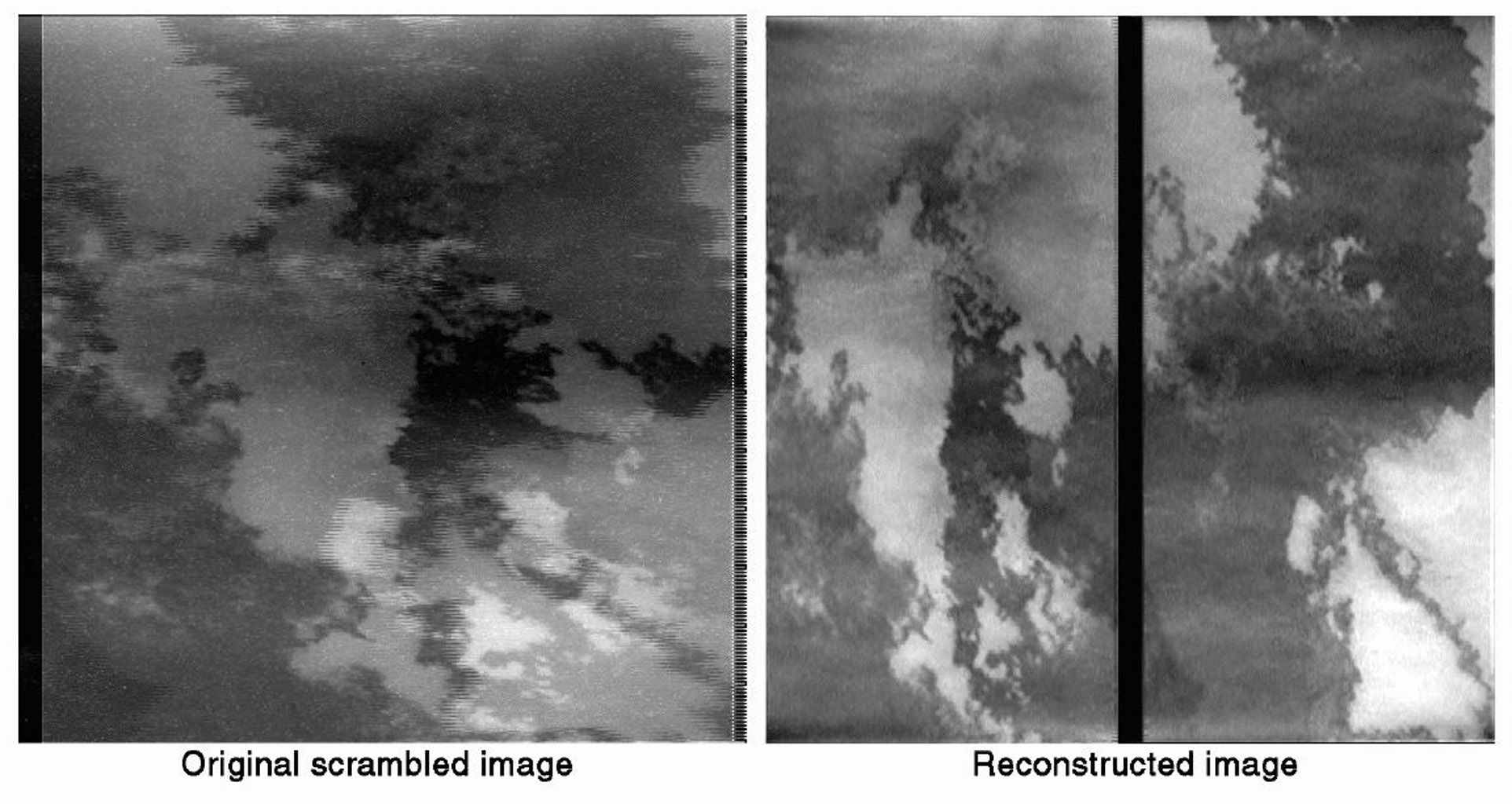 This pair of images depicts the magic worked by JPL engineers to repair radiation damage to images taken by NASA's Galileo spacecraft camera during an October 10 close flyby of Jupiter's volcanic moon Io.