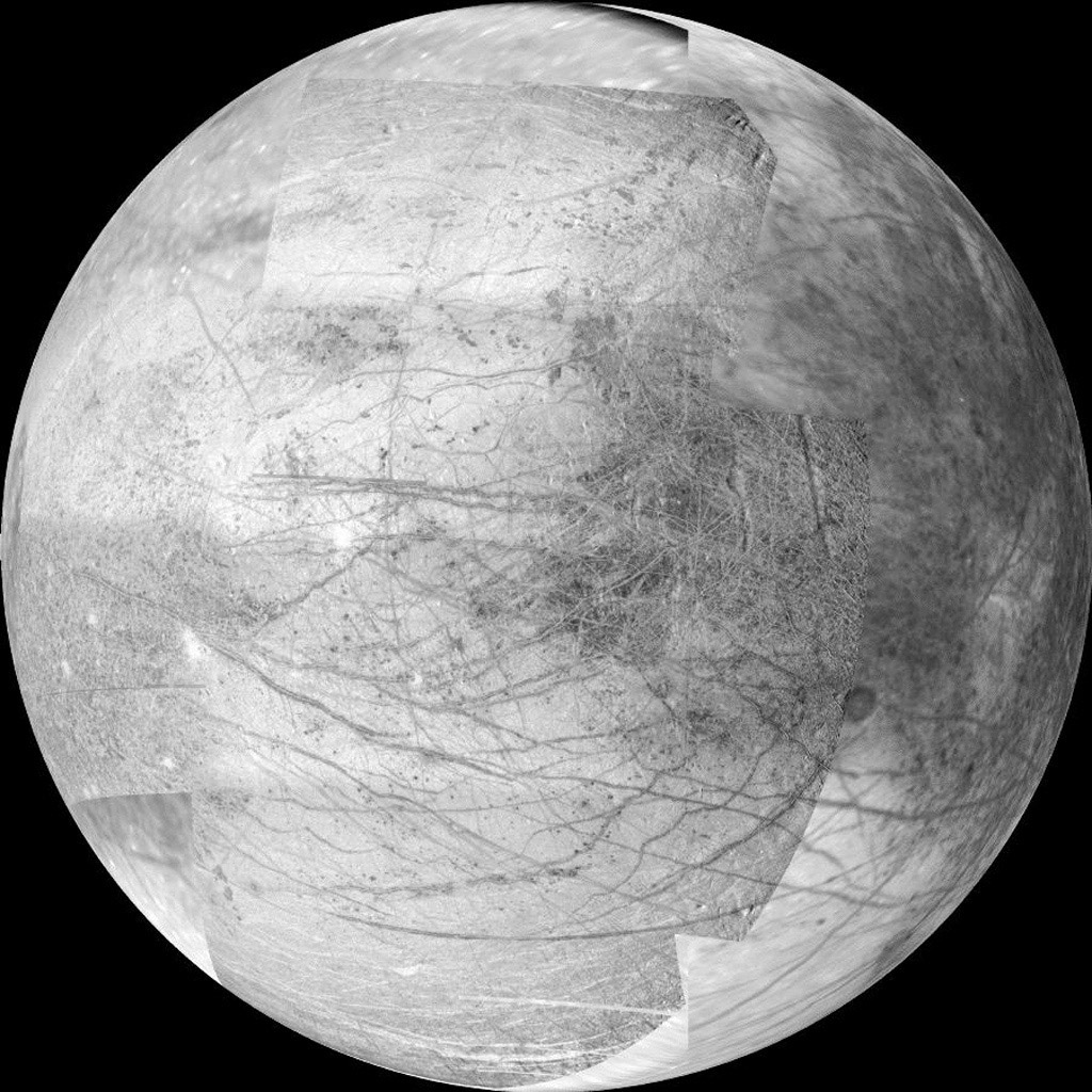 This 12-frame mosaic provides the highest resolution view ever obtained of the side of Jupiter's moon Europa that faces the giant planet. It was obtained by the camera onboard NASA's Galileo spacecraft during the spacecrafts 25th orbit of Jupiter.