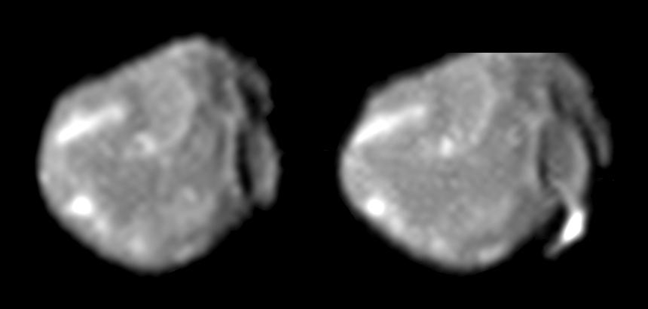 These two images of Jupiter's small, irregularly shaped moon Amalthea, obtained by the camera onboard NASA's Galileo spacecraft, form a 'stereo pair' that helps scientists determine this moon's shape and the topography of its surface features.