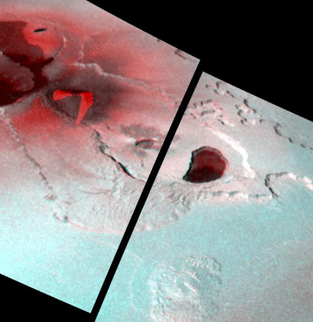 This stereo image illustrates the topography of the Tvashtar Catena region on Jupiter's moon Io. It was created by combining two different views of Tvashtar taken by NASA's Galileo spacecraft on November 25, 1999 and February 22, 2000.
