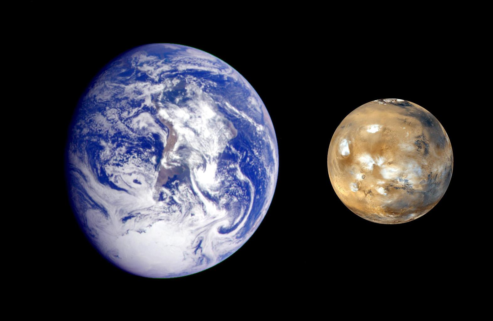 This composite image, from NASA's Galileo and Mars Global Survey orbiters, of Earth and Mars was created to allow viewers to gain a better understanding of the relative sizes of the two planets.