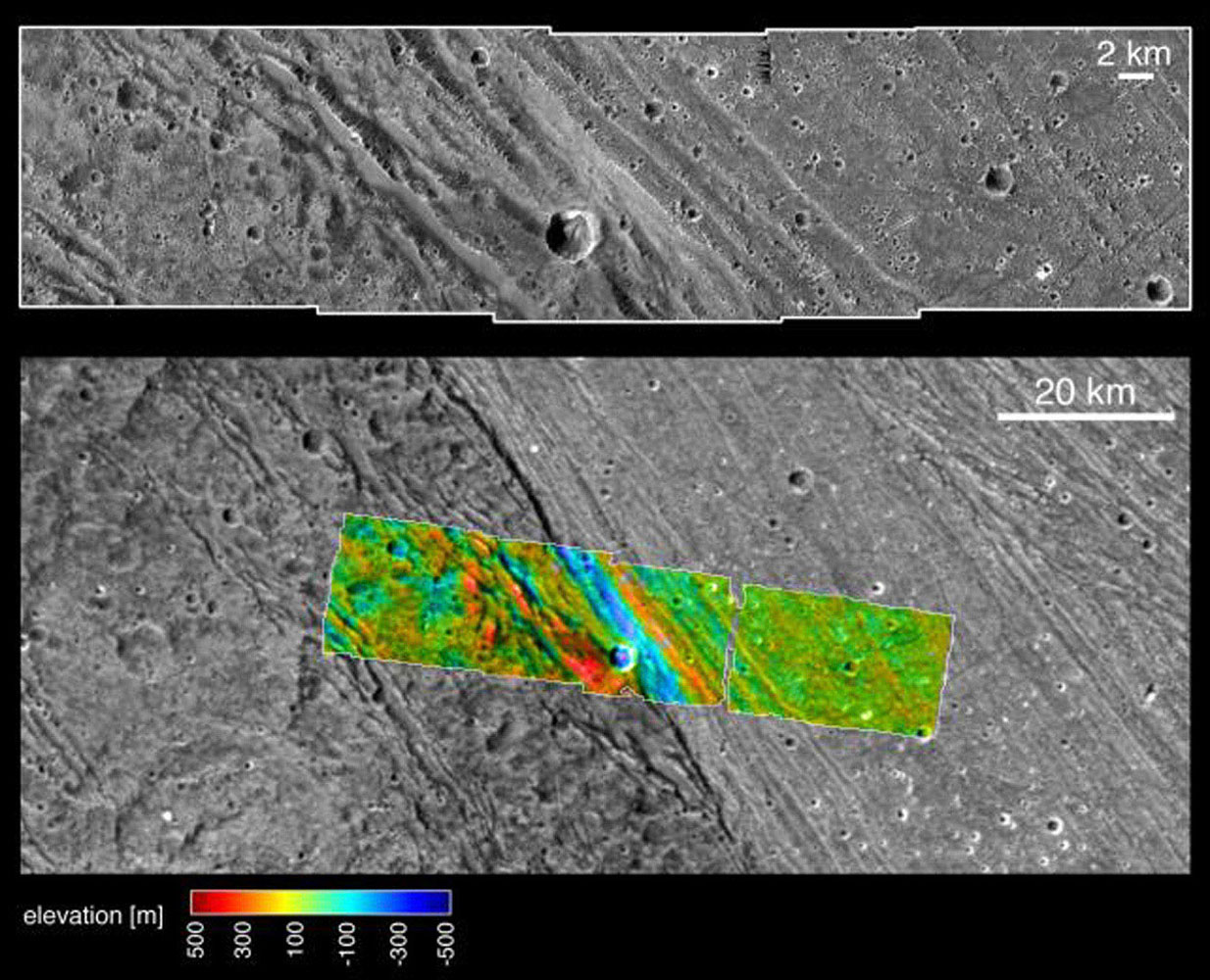 These images, taken by NASA's Galileo spacecraft on its May 20, 2000, flyby of Jupiter's moon Ganymede, illustrate the boundary and different elevations between the dark, ancient terrain of Nicholson Regio and bright, younger terrain of Harpagia Sulcus.