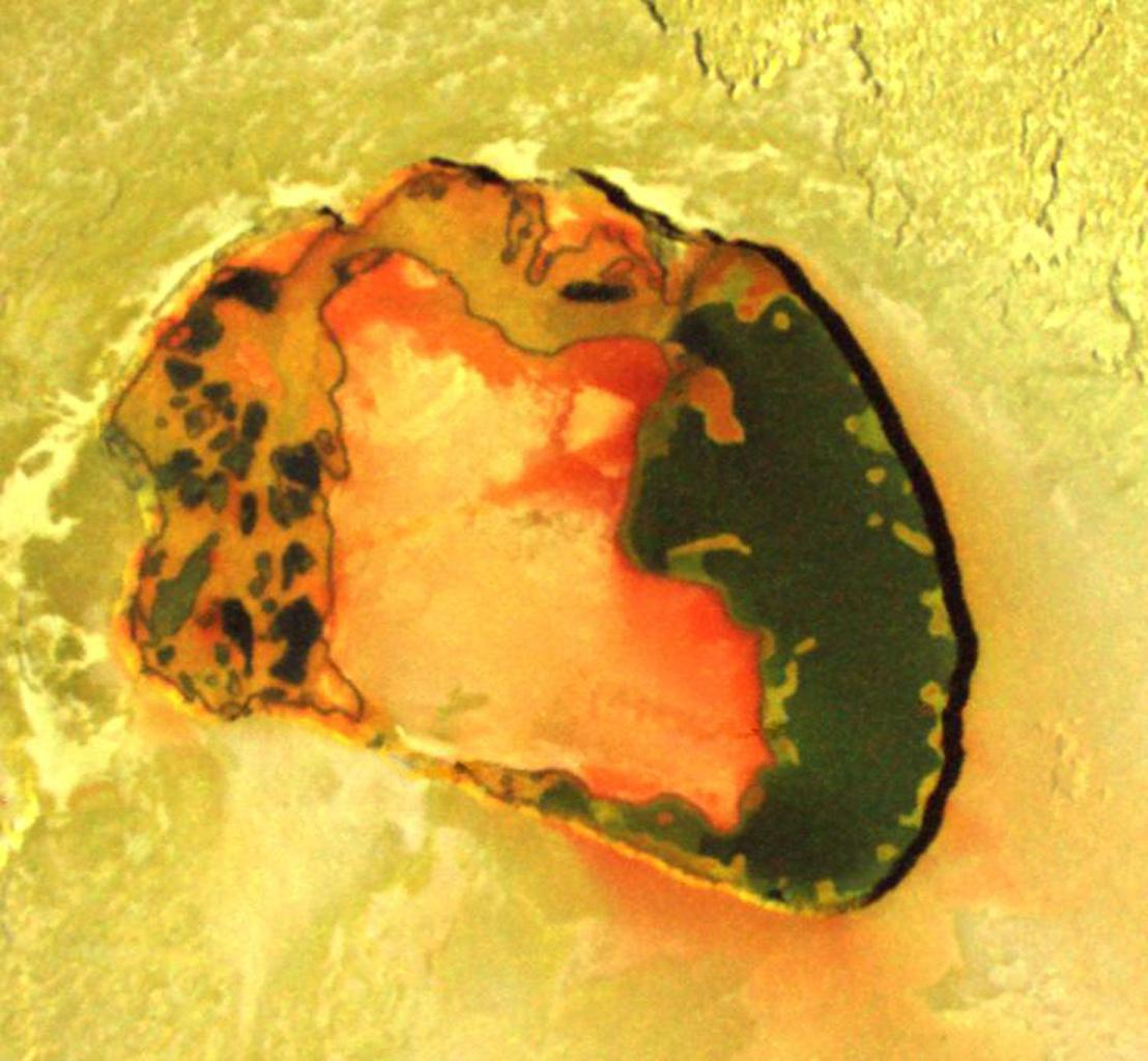 Wonderful colors in a volcanic crater named Tupan Patera on Jupiter's moon Io, as seen in this image from NASA's Galileo spacecraft, show varied results of lava interacting with sulfur-rich materials.