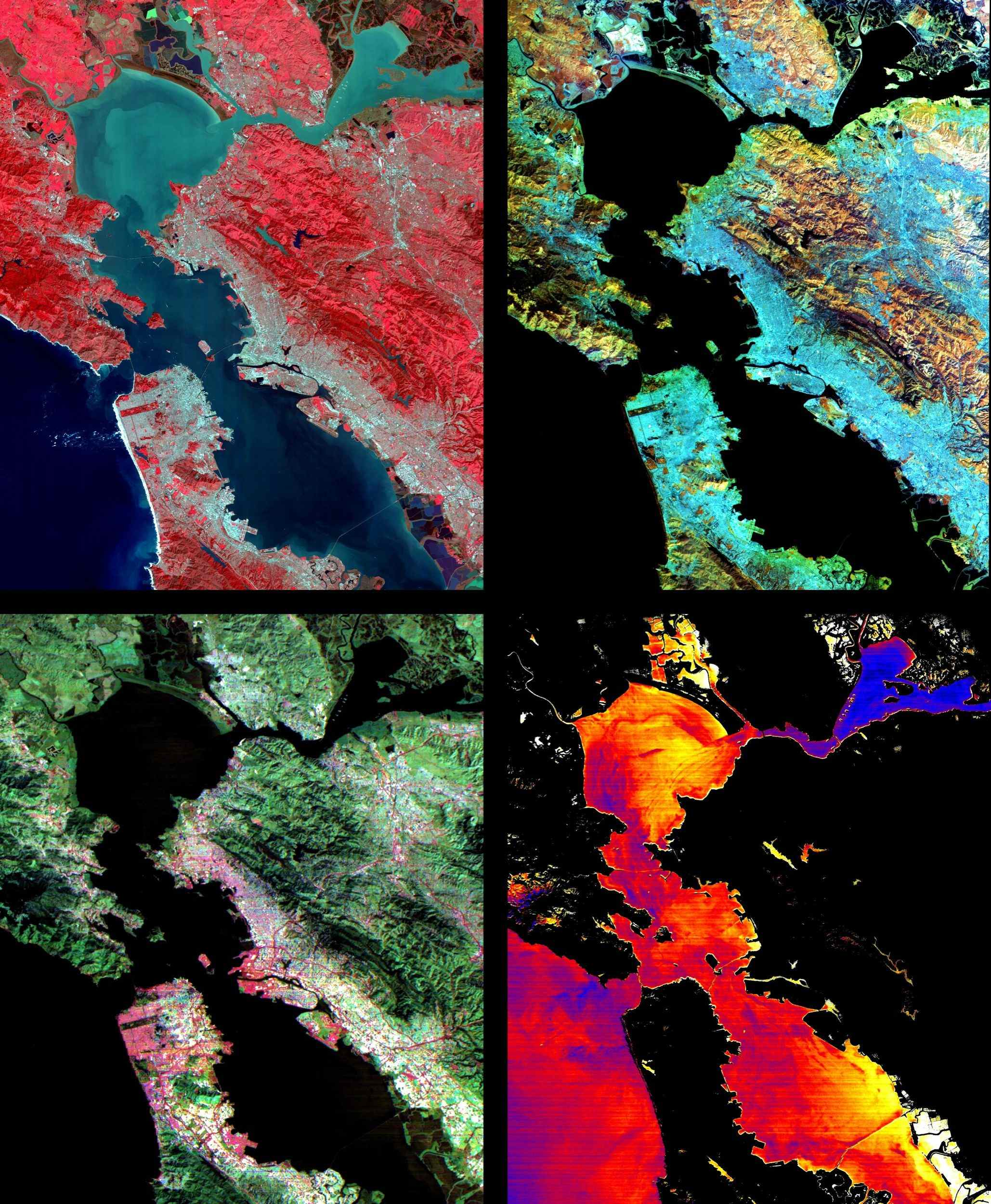These images of the San Francisco Bay region were acquired on March 3, 2000 by the Advanced Spaceborne Thermal Emission and Reflection Radiometer (ASTER) on NASA's Terra satellite.
