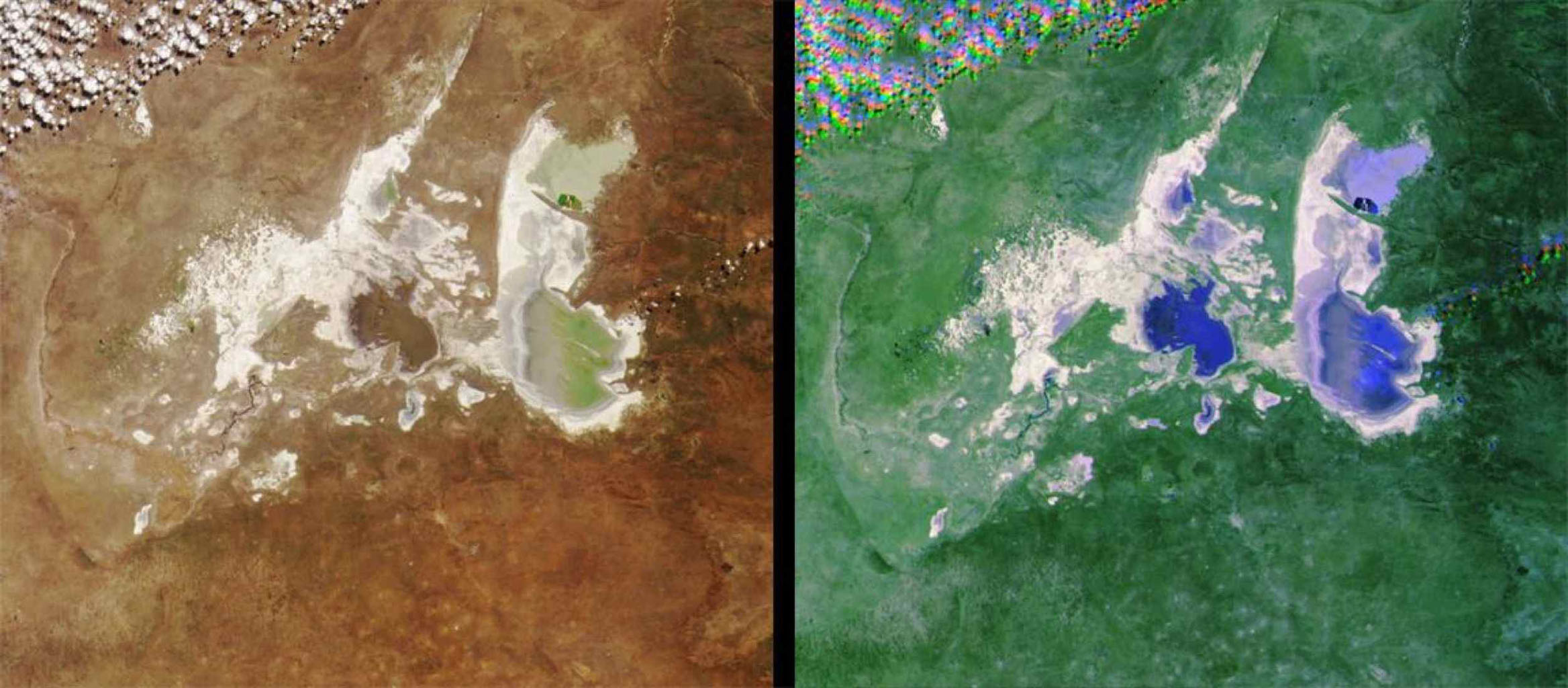 These images from NASA's Terra satellite images of the Ntwetwe and Sua Pans in northeastern Botswana were acquired on August 18, 2000 (Terra orbit 3553).