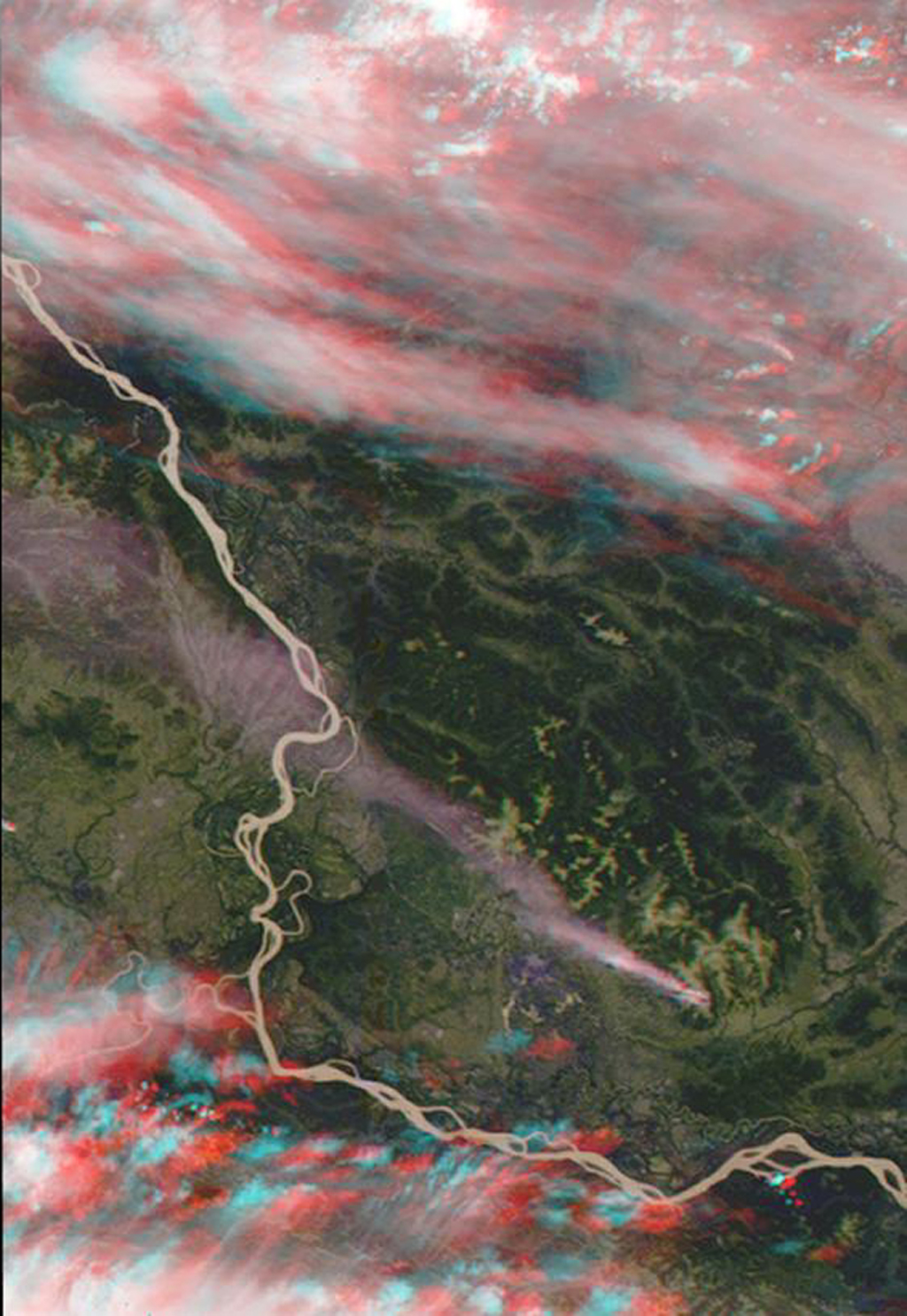 This stereo view of western Alaska was acquired by NASA's Terra satellite on June 25, 2000. 3D glasses are necessary to view this image.