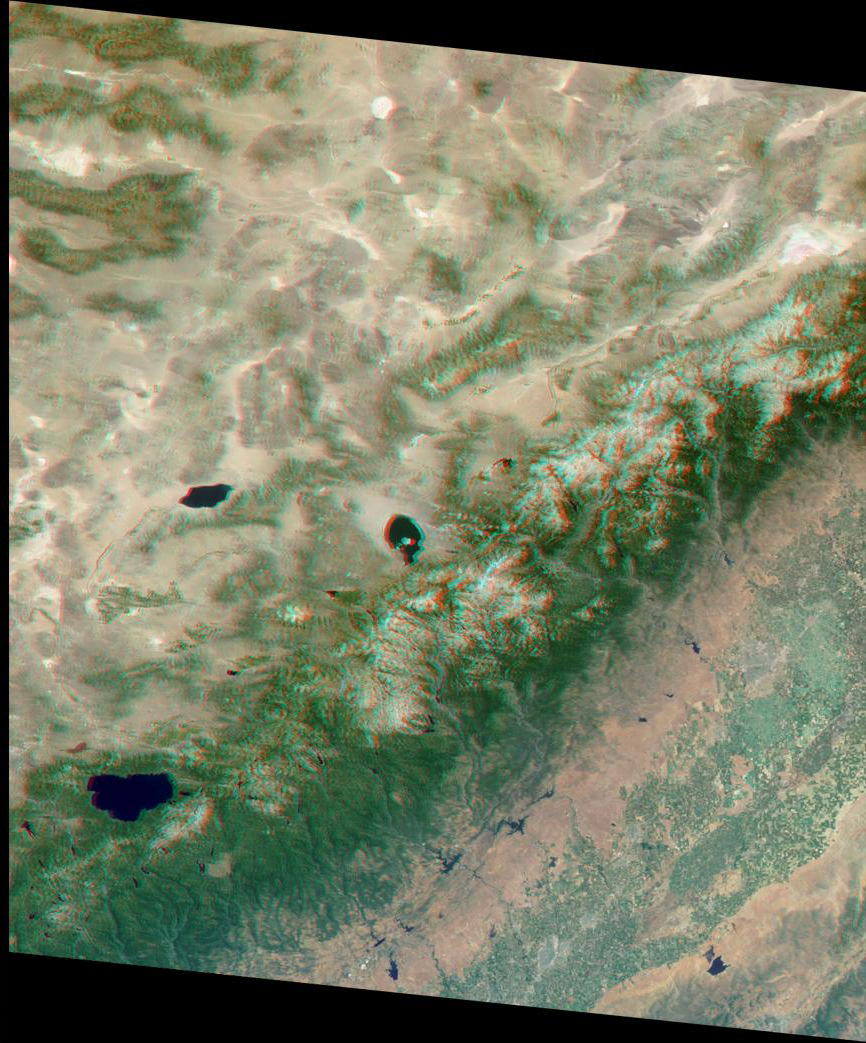 This stereo view of the Sierra Nevada mountains near the California-Nevada border was acquired on August 12, 2000 by NASA's Terra satellite. 3D glasses are necessary to view this image.