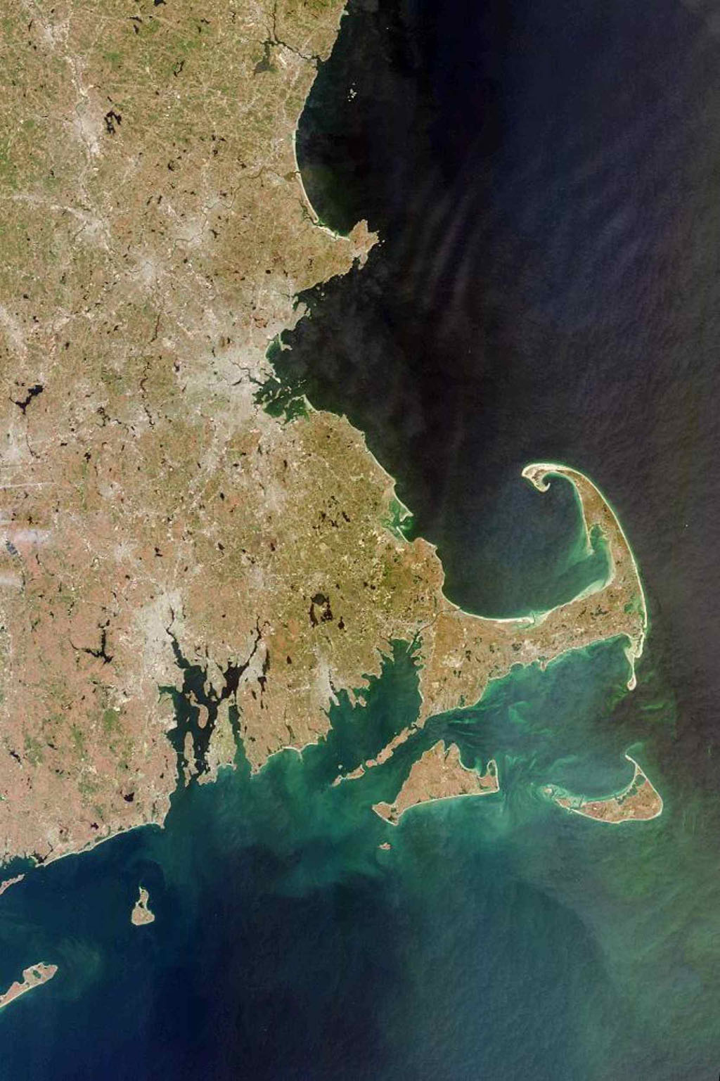 This image acquired on April 13, 2000 from NASA's Terra satellite shows west side of Cape Cod Bay.