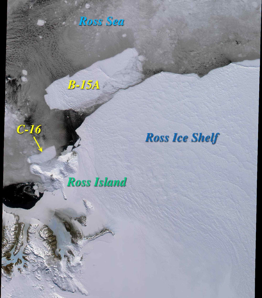 Two large icebergs, designated B-15A and C-16, captured by NASA's Terra satellite, are of the Ross Ice Shelf and Ross Sea in Antarctica, acquired on December 10, 2000 during Terra orbit 5220.