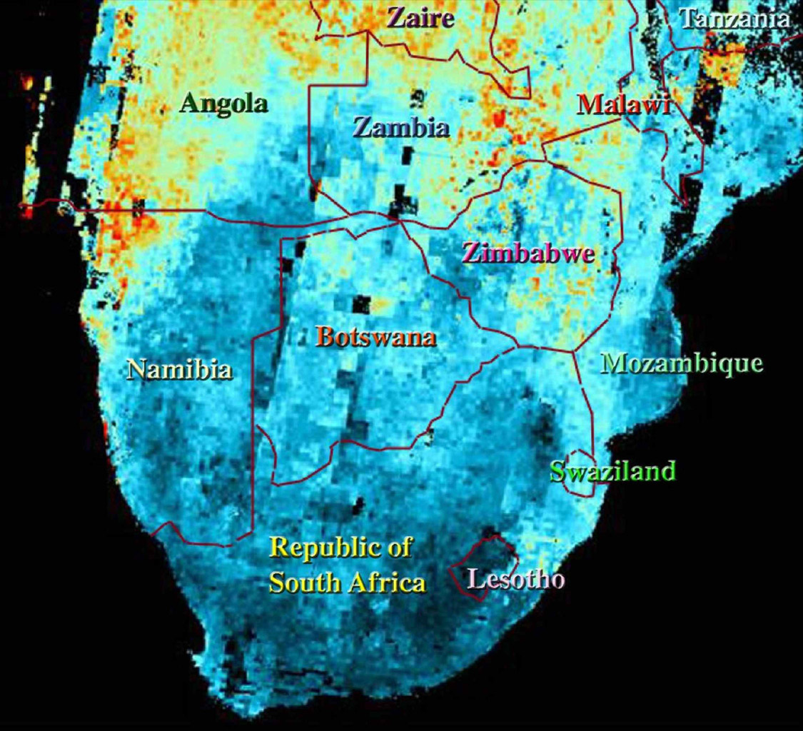 This map shows the abundance of airborne particulates, or aerosols, over Southern Africa during the period August 14-September 29, 2000, when NASA's Terra satellite flew over the area.