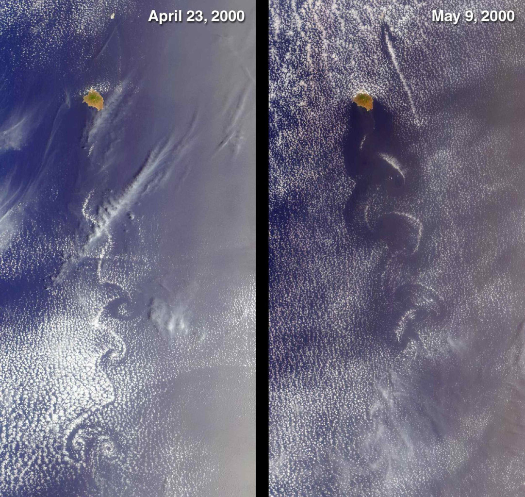 Socorro, Mexico was captured by NASA's Terra satellite in 2000 showing cloud swirls, like delicate lace, forming patterns known as von Karman vortex streets.