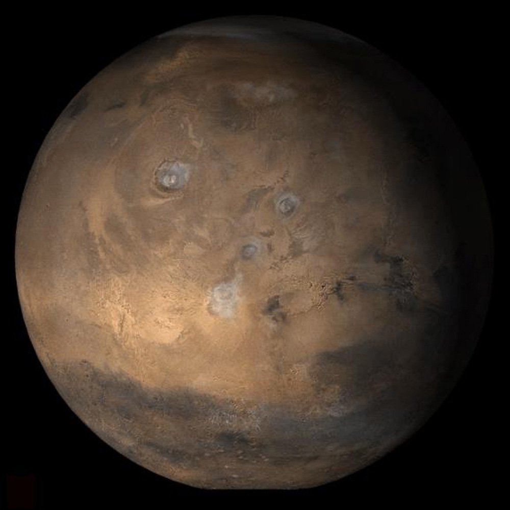 NASA's Mars Global Surveyor shows the Tharsis face of Mars in mid-March 2006.