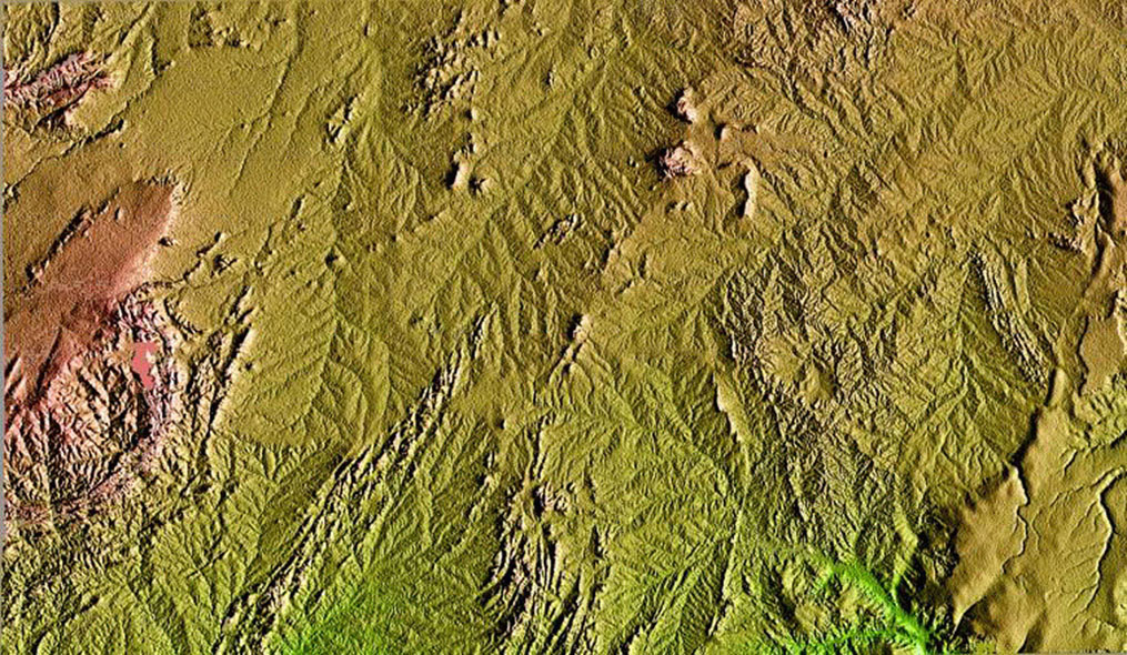 This topographic image acquired in February 2000 by NASA's Shuttle Radar Topography Mission shows an area in the state of Bahia in Brazil.