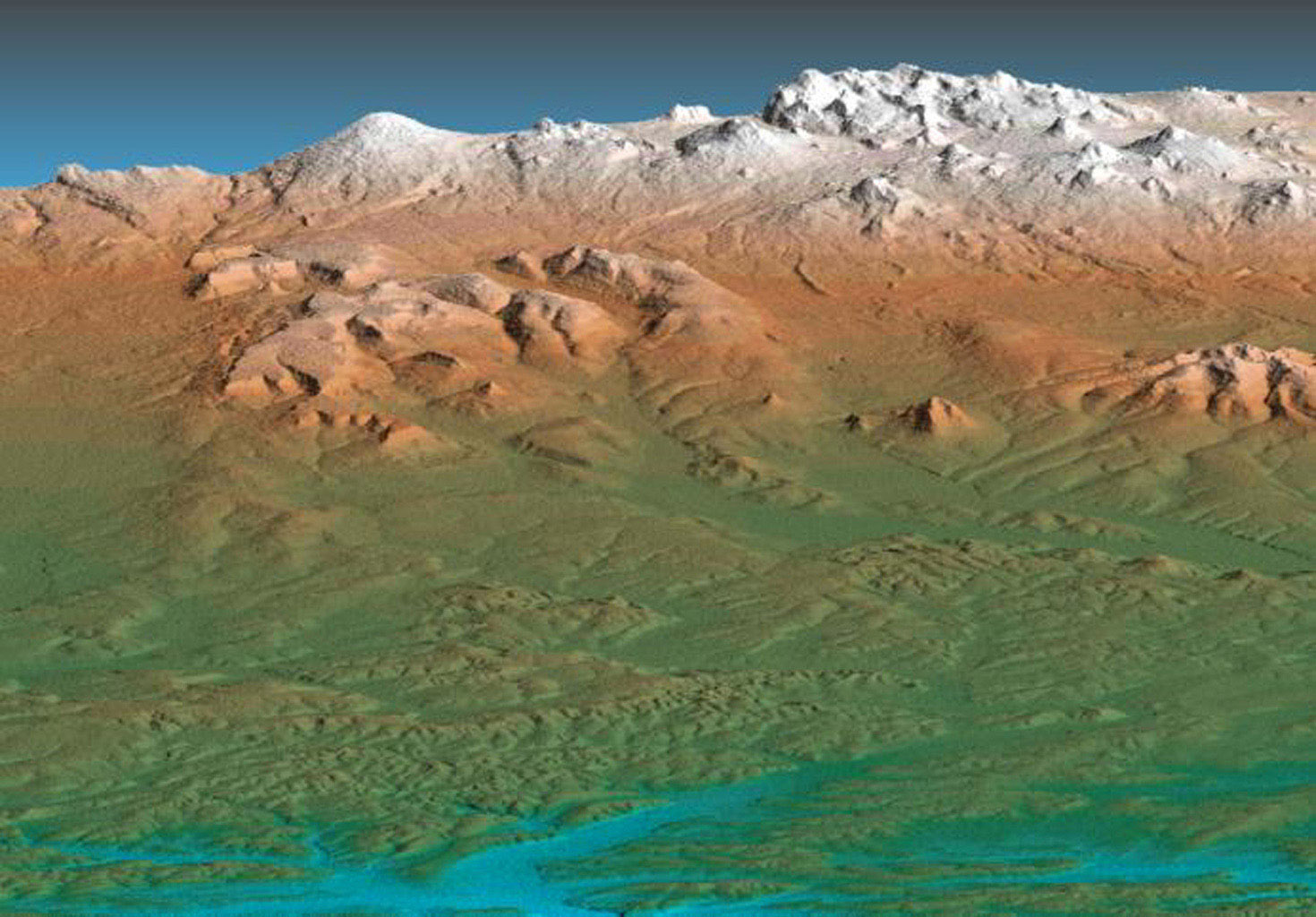 This perspective view acquired by NASA's Shuttle Radar Topography Mission from data collected on February 12, 2000 shows the western side of the volcanically active Kamchatka Peninsula, Russia.