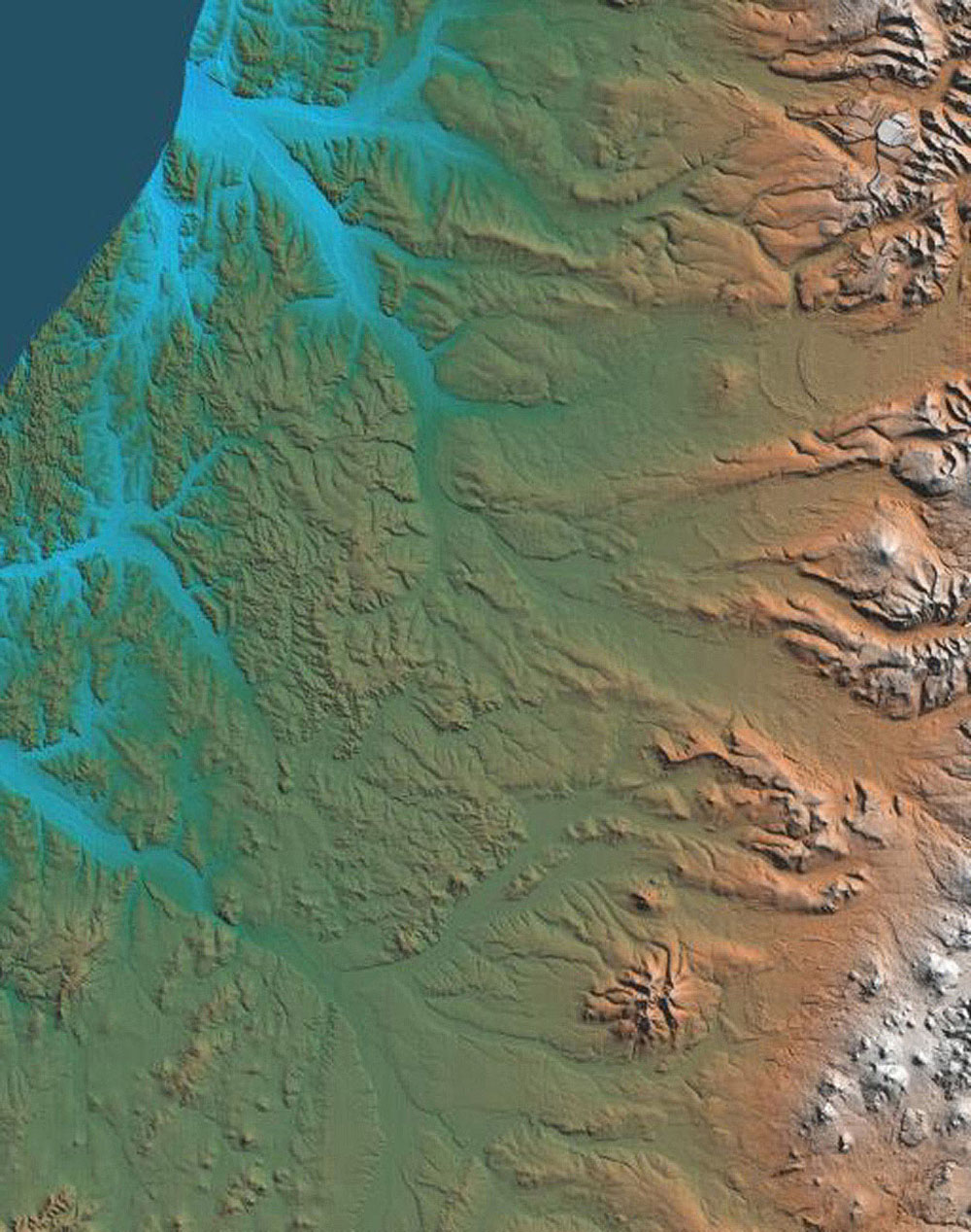 This topographic map acquired by NASA's Shuttle Radar Topography Mission from data collected on February 12, 2000 shows the western side of the volcanically active Kamchatka Peninsula, Russia.