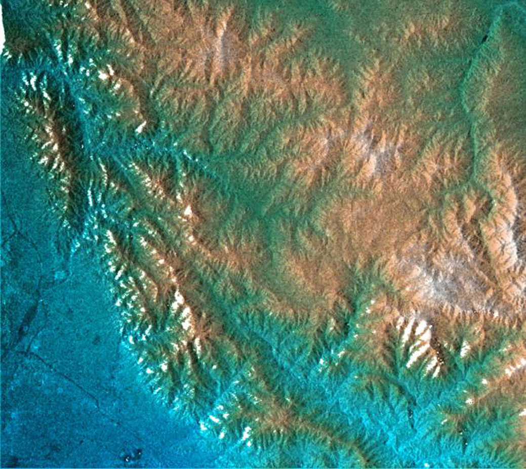 This topographic radar image acquired by NASA's Shuttle Radar Topography Mission from data collected on February 16, 2000 shows the relationship of the urban area of Pasadena, California to the natural contours of the land.