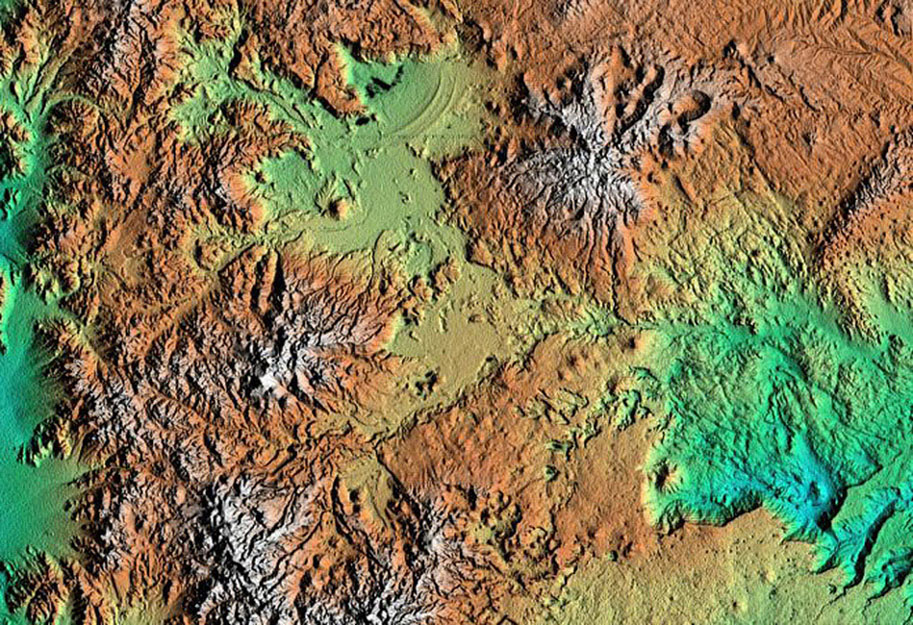 This topographic image acquired by NASA's Shuttle Radar Topography Mission from data collected on February 15, 2000, of Patagonia, Argentina shows a spectacular landscape formed by volcanoes, rivers, and wind.