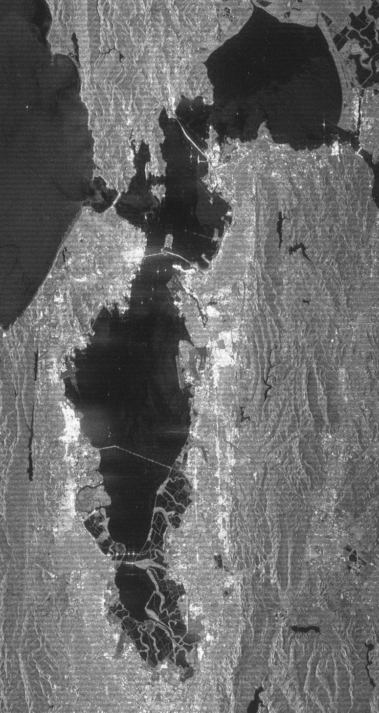 This radar image acquired by NASA's Shuttle Radar Topography Mission from data collected on February 16, 2000 shows the San Francisco Bay Area in California. Bay, lakes, roads and airport runways appear dark; buildings and trees appear bright.