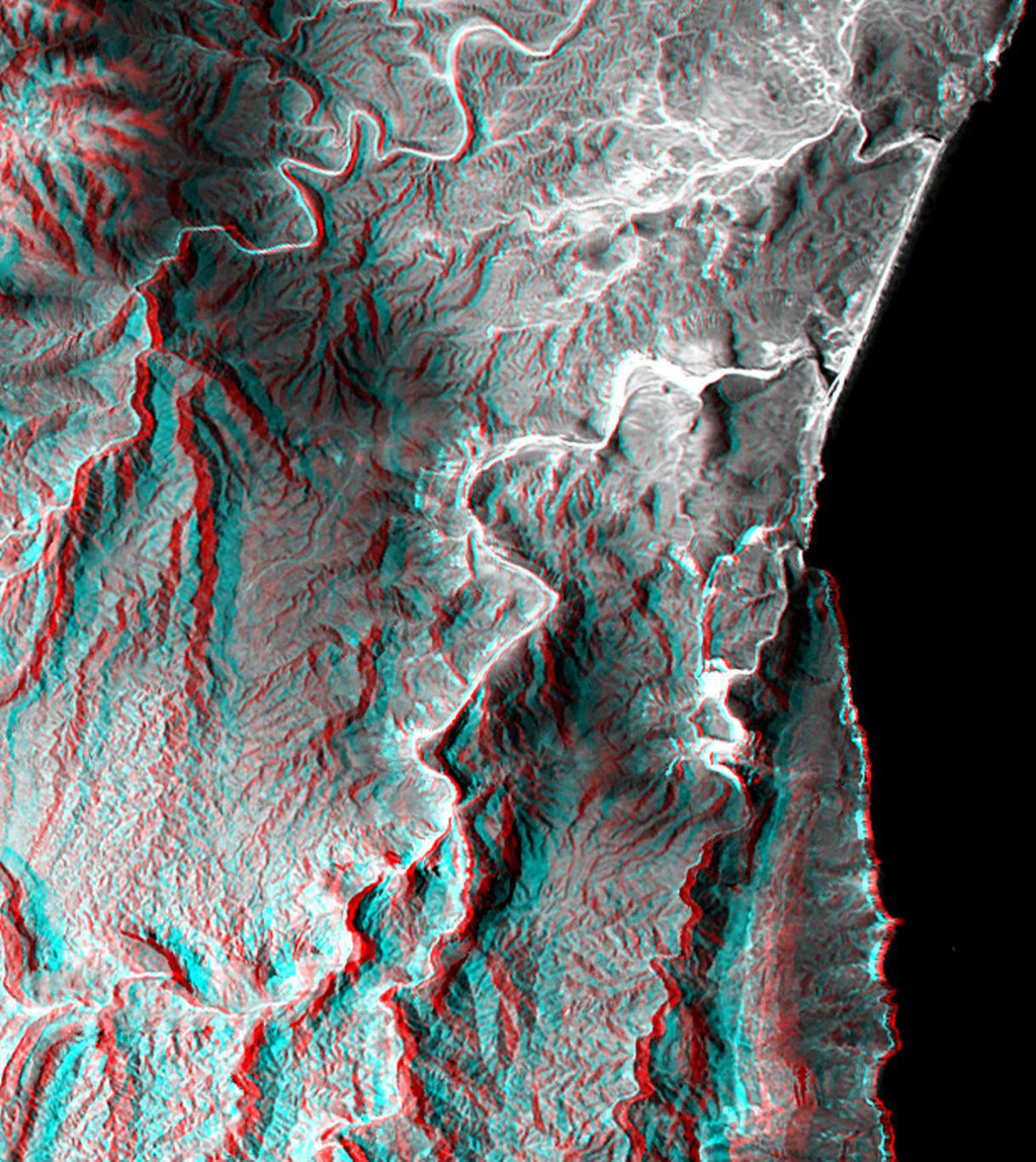 This anaglyph, from NASA's Shuttle Radar Topography Mission, is of the coastal area in southernmost Oman; the Arabian Sea is on the right. 3D glasses are necessary to view this image.