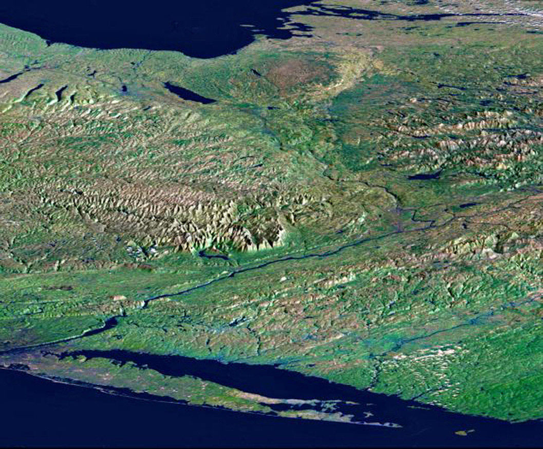 From Lake Ontario to the St. Lawrence River, extending to Long Island, this perspective view from NASA's Shuttle Radar Topography Mission shows topography of eastern New York State and Massachusetts, Connecticut, Pennsylvania, New Jersey and Rhode Island.