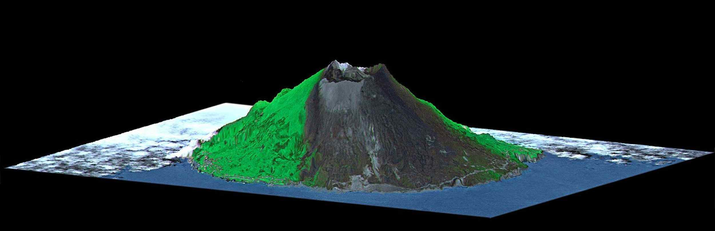Space Images ASTERSRTM Perspective of Mount Oyama Volcano Miyake