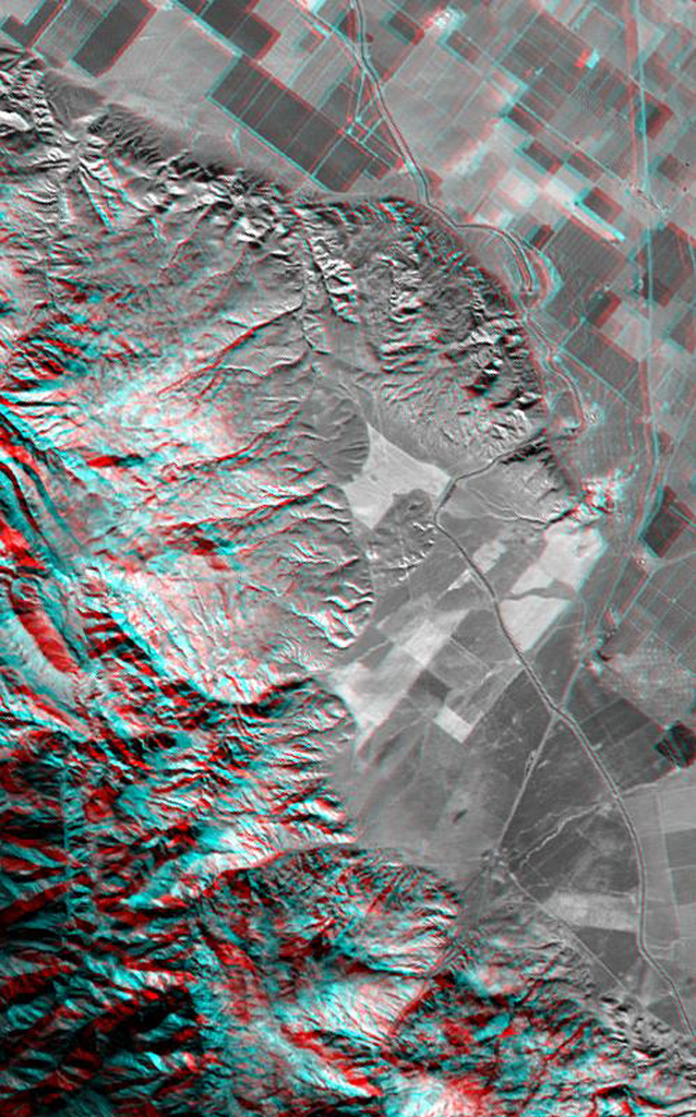 This anaglyph, from NASA's Shuttle Radar Topography Mission, shows Wheeler Ridge and vicinity, California, a site of major tectonic activity. 3D glasses are necessary to view this image.