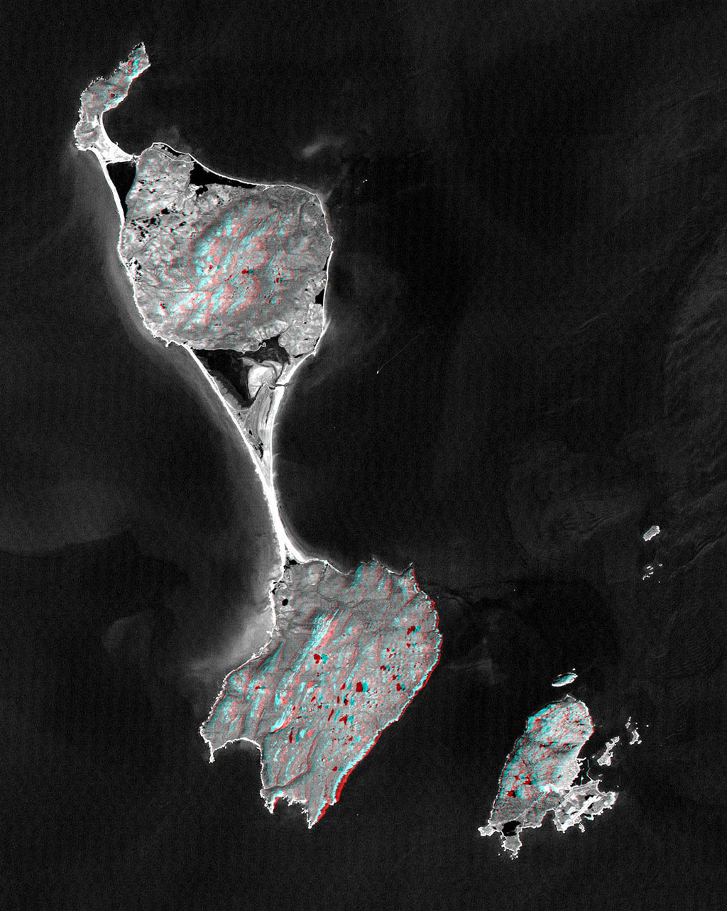 This anaglyph, from NASA's Shuttle Radar Topography Mission, shows Miquelon and Saint Pierre Islands, located south of Newfoundland, Canada. 3D glasses are necessary to view this image.