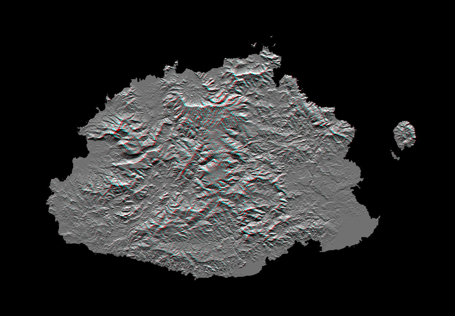 This anaglyph, from NASA's Shuttle Radar Topography Mission, shows Viti Levu, the largest island in the group some 332 islands commonly known as Fiji. 3D glasses are necessary to view this image.