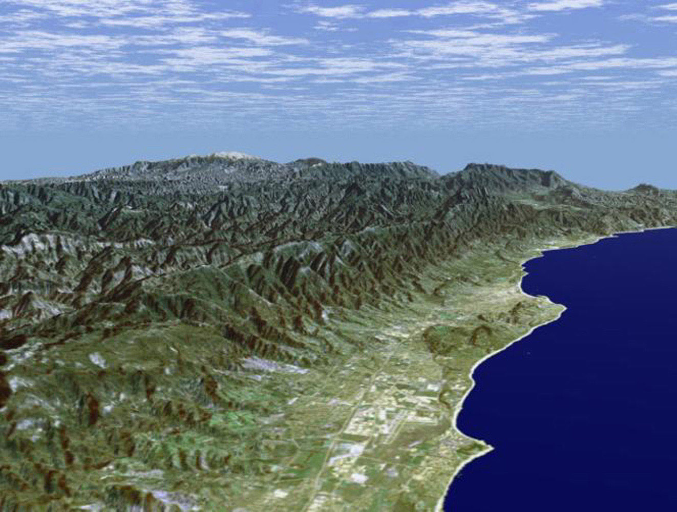 Santa Barbara, California, is often called 'America's Riviera' as seen in this image generated from NASA's Shuttle Radar Topography Mission data on February 16, 2000.