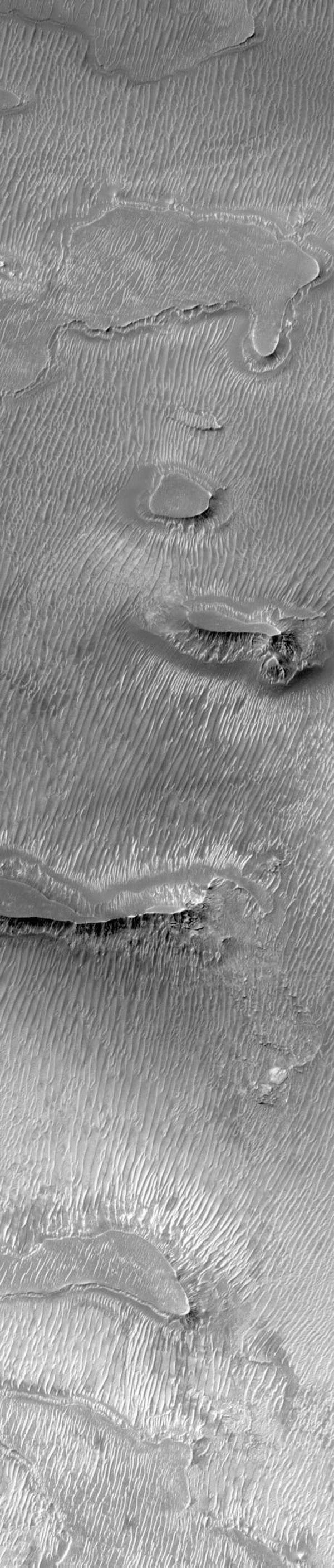 NASA's Mars Global Surveyor shows dark, ridged surfaces, common in the central floors of Valles Marineris and elsewhere in the equatorial regions of Mars.