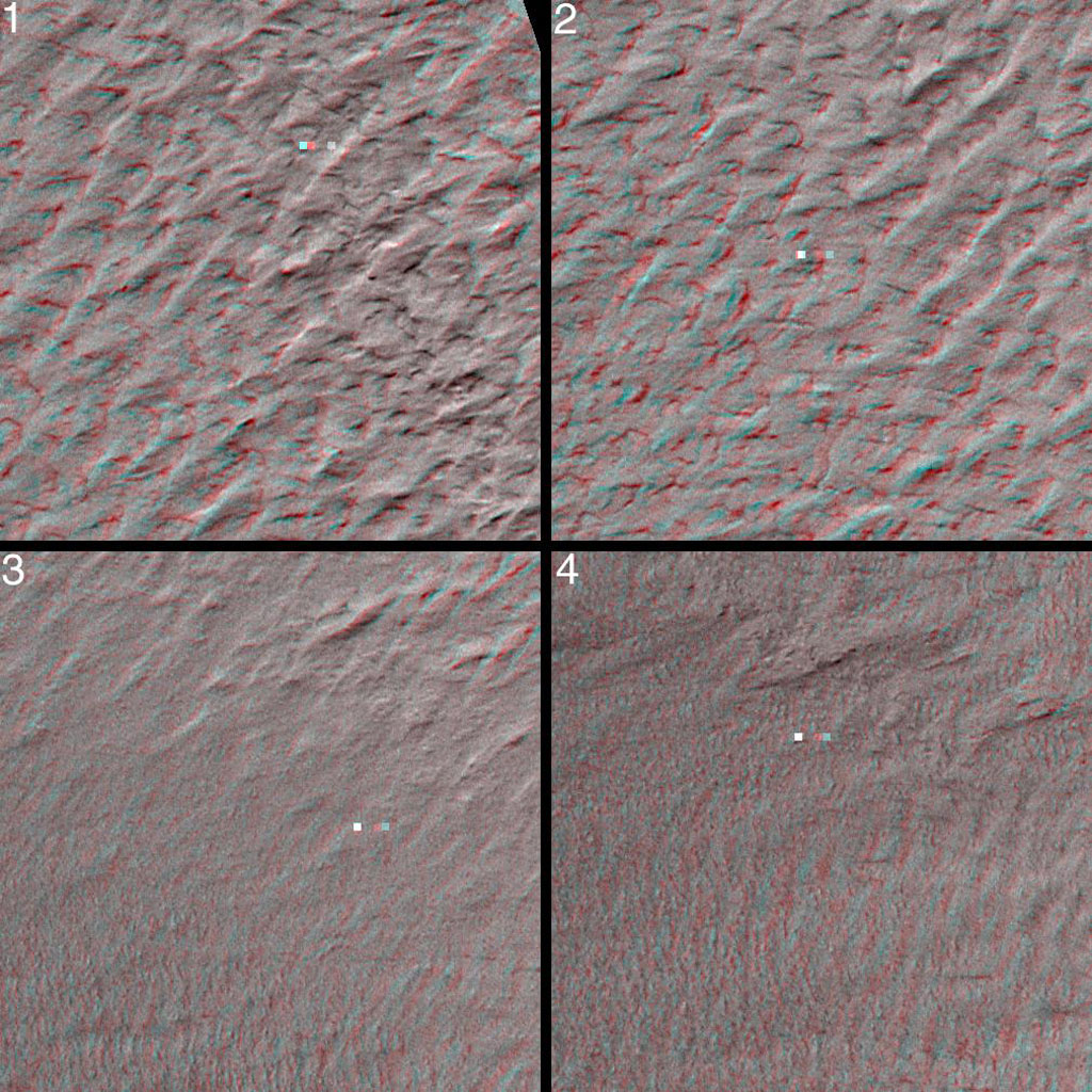 This stereo image mosaic from NASA's Mars Global Surveyor is of Mars' south polar terrain. 3-D glasses are necessary to view this image.