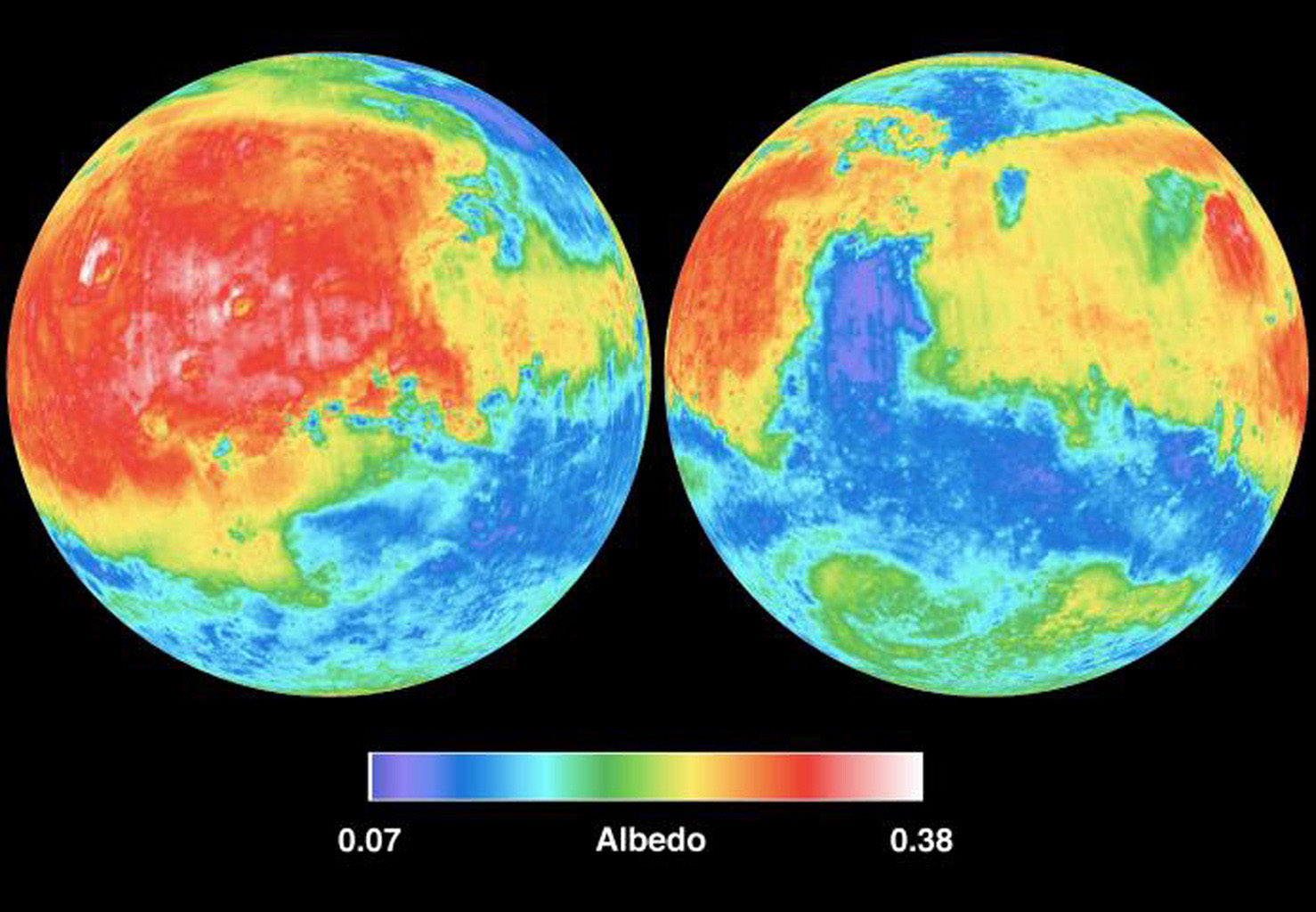 NASA's Mars Global Surveyor shows two views of Mars derived from MGS Thermal Emission Spectrometer measurements of global broadband (0.3 - ~3.0 microns) visible and near-infrared reflectance, also known as albedo.