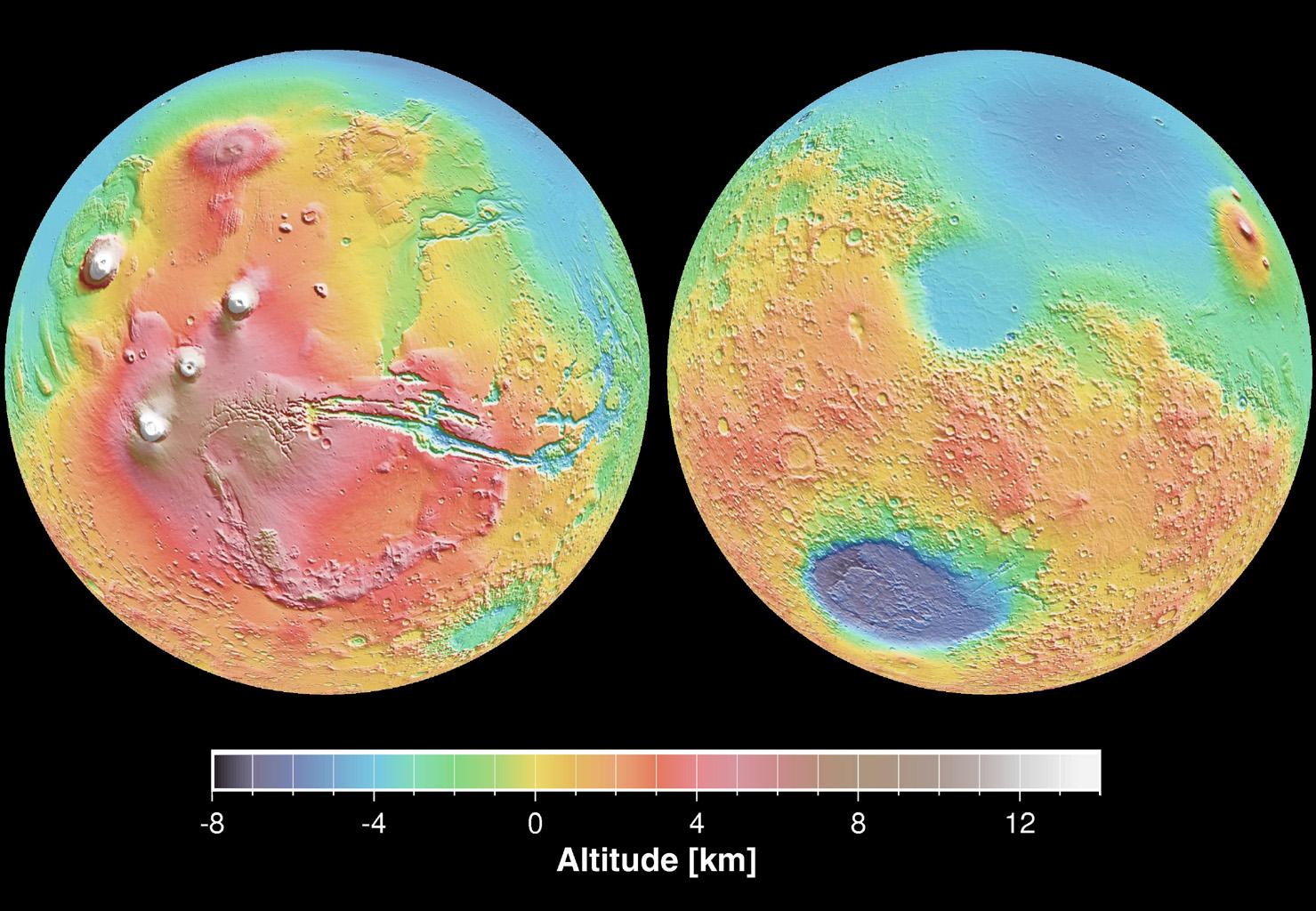 These maps are global false-color topographic views of Mars at different orientations from NASA's Mars Global Surveyor. The maps are orthographic projections that contain over 200,000,000 points and about 5,000,000 altimetric crossovers.