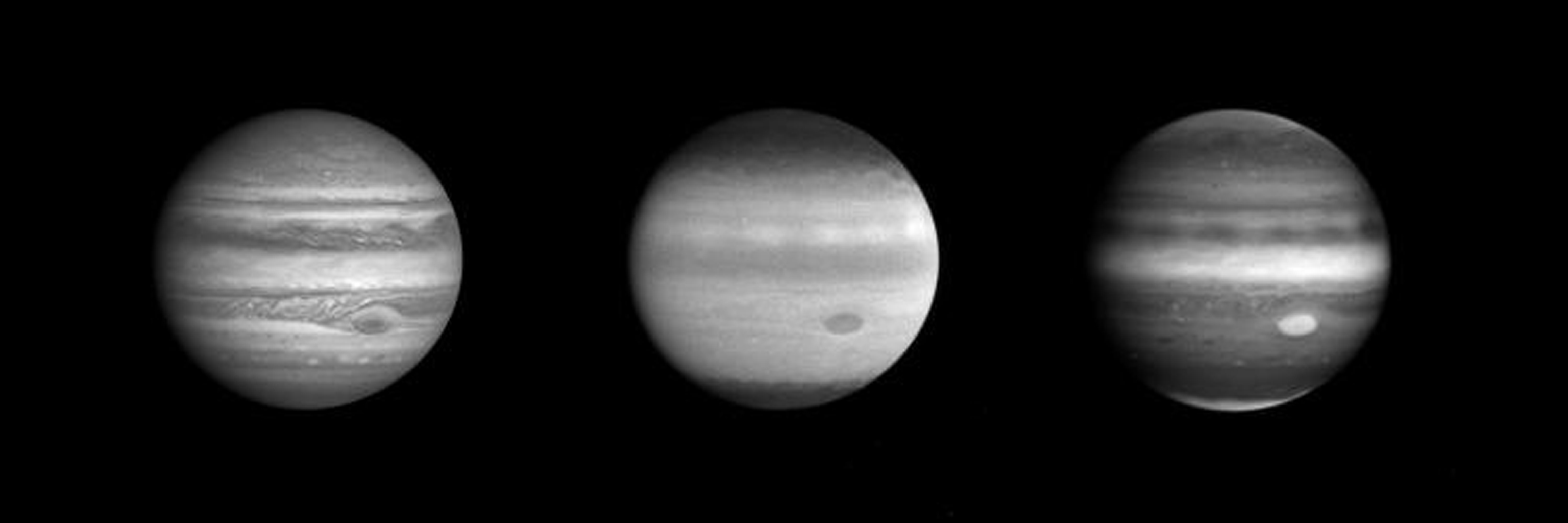 These three images of Jupiter, taken through the narrow angle camera of NASA's Cassini spacecraft from a distance of 77.6 million kilometers (48.2 million miles) on October 8, reveal more than is apparent to the naked eye through a telescope.